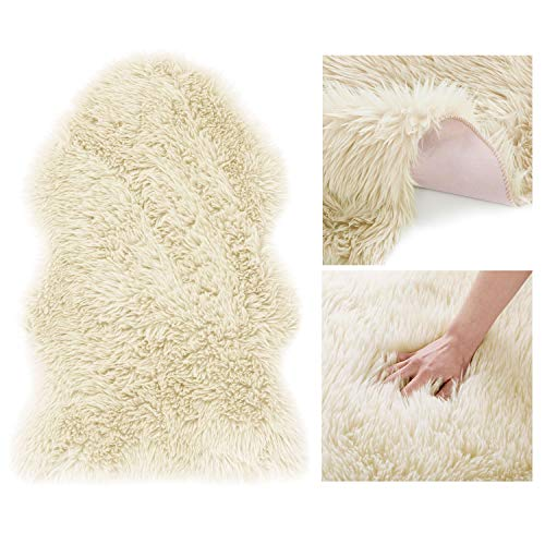 AmeliaHome Alfombra de piel de cordero sintética de pelo largo Dokka Beige 50 x 80 cm