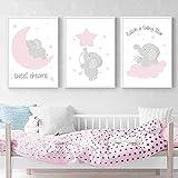 Juego de 3 Impresiones Infantiles Posters Animales Niños Elefante Rosa Cuadros Dormitorios Bebe Sin Marco NPTWC008-XL