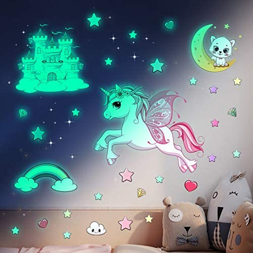 Glow in The Dark Stars Stickers for Ceiling Unicorn Room Wall Decor for Girls Bedroom Decor product image