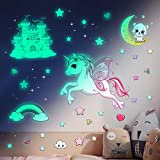Glow in The Dark Stars Stickers for Ceiling,Unicorn Room Wall Decor for Girls Bedroom Decor,Kids Wall Stickers Unicorn Wall Decals for Girls Room Decor
