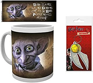 Set: Harry Potter, Dobby is A Free Elf and Dobby Has Come to Save Harry Potter and His Friends Photo Coffee Mug (4x3 inches) and 1 Harry Potter, Keychain Keyring for Fans (2x2 inches)