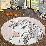 TT Home Alfombra Habitación Infantil Redonda Pelo Corto con Diseño Unicornio, Rosa, Größe:Ø 200 cm Redondo