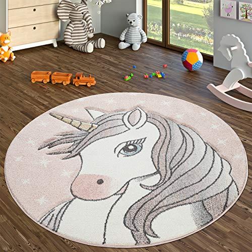 TT Home Alfombra Habitación Infantil Redonda Pelo Corto con Diseño Unicornio, Rosa, Größe:Ø 160 cm Redondo