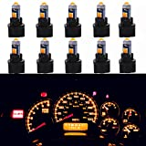 WLJH Super Bright Yellow T5 Dash Light Bulbs Car Replacement Instrument Cluster Gauge Panel Warning Indicator Lights 73 74 286 2721 Led Bulb with PC74 Twist Lock Sockets,Pack of 10