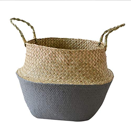 HalfSun Seagrass Wickerwork Basket Rattan Foldable Hanging Flower Pot – Decorative Basket for Bedroom and Organization of Blankets, Laundry and Toys