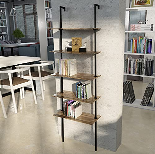 Sihang Home Ladder Shelf, 5-Tier Industrial Bookshelf Rack Leaning Shelf, Storage Rack for Living Room Kitchen Office Bedroom, Rustic Brown and Black