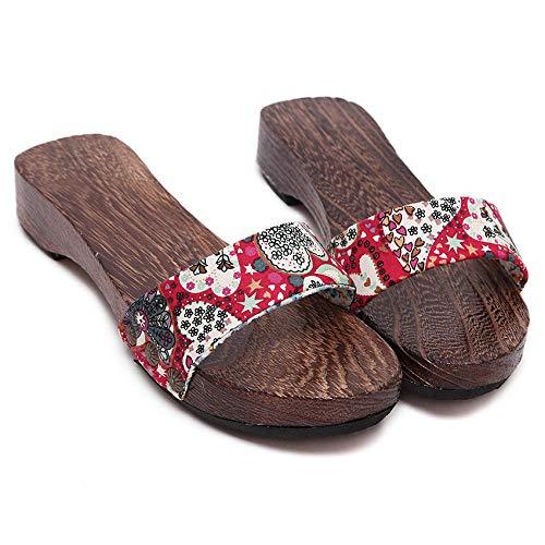 Chanclas de Playa y Piscina para Unisex Suave,Zuecos Antideslizantes, Zapatillas de casa de Interior-Rojo 3_38,Mujer Hombre Zapatos de baño