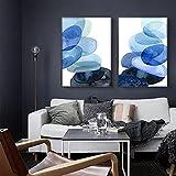 Pintura de lienzo de piedra abstracta azul póster impreso sala de estar dormitorio decoración de oficina cuadro dorado nórdico arte de pared decoración del hogar sin marco-40x60cmx2