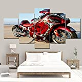 SDGSDG 5 Piezas Painting Lienzo 150x80cm(Con marco ) /Cartel de motocicleta roja /HD Imágenes Impresiones Sobre Lienzo Para El Moderna Hogar Decoración