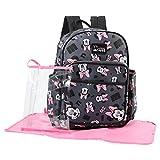Disney Minnie Mouse Toss Head Print Backpack Diaper Bag, Grey