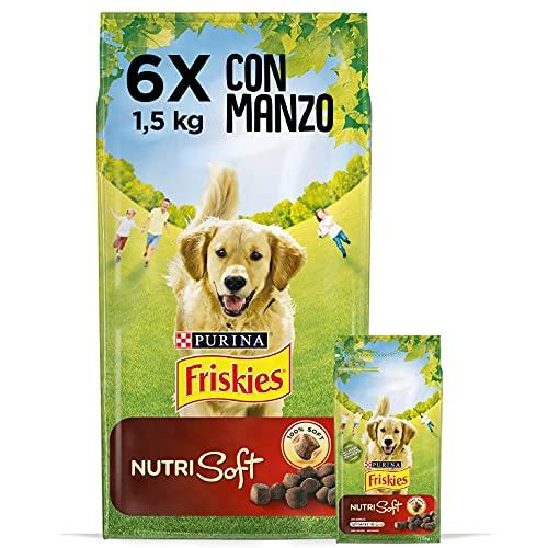 Purina Friskies Crocchette Cane Vitafit Nutri Soft con Manzo, 6 Confezioni da 1,5 kg Ciascuna, Peso Totale 9 kg