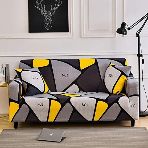Funda de sofá de Sala de Estar geométrica Multicolor Material elástico Funda de sofá de Dos plazas Funda de sofá A14 4 plazas