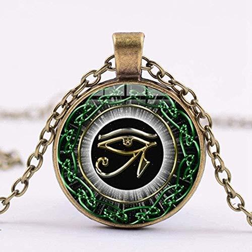 Collar Hombre S Collar Viejo Dios Collar de ojo de Horus Tercer ojo Mandala Joyería india Retro Cabujón de cristal Po Collar de amuleto hecho a mano Mujeres Colgante Collar Regalo para mujeres Hombres