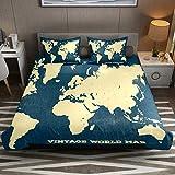 Juego de funda de edredón de microfibra de fácil cuidado con diseño de mapa del mundo vintage, 3 piezas, color azul marino