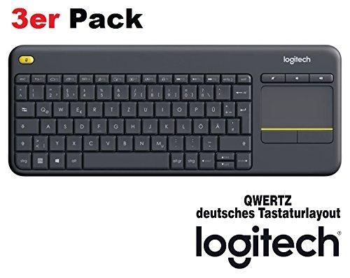 Logitech K400 Plus Touch Wireless Tastatur (QWERTZ, deutsches Tastaturlayout) (schwarz   3er Pack)
