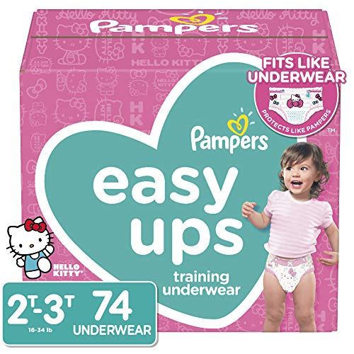 Pampers Easy Ups Pull On Disposable Potty Training Underwear for Girls, Size 4 (2T-3T), 74 Count, Super Pack