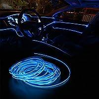 CHENTAOCS 5メートルの車のインテリア照明の自動LEDストリップELワイヤーロープオート雰囲気装飾ランプの柔軟なネオンライトDIY (色 : 青い)
