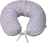LULANDO Bomerang Cuscino Per Dormire E Per Giocare, Cuscino da allattamento , Cuscino gravidanza, Cuscino multiuso, 200 x 39 cm, 100% Cotone, Fabbricato in UE ( White Stars / Grey )