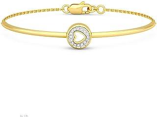 14K Yellow Gold IJ| SI identification-bracelets Size 0.058 cttw Round-Cut-Diamond 6 inches HallMarked