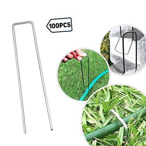 6 Inch Garden Stakes Galvanized Landscape Staples,U-Type Turf Staples for Artificial Grass, Rust Proof Sod Pins Stakes for Securing Fences Weed Barrier, Outdoor Wires Cords Tents Tarps 100 Pack