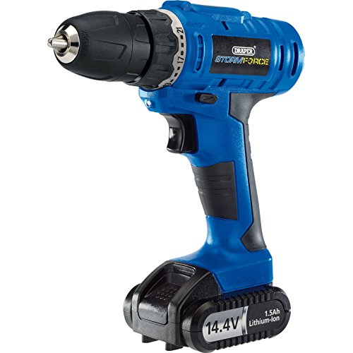 Draper 14598 Storm Force Cordless Rotary Drill with Li-ion Battery (14.4V), 14.4 V, Multicoloured