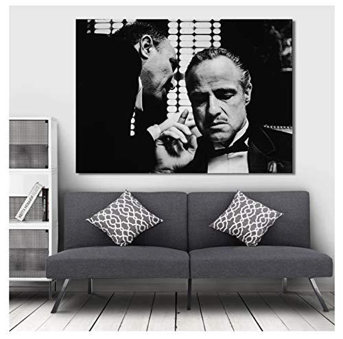 arlon Brando Ojciec Chrzestny plakaty filmowe i nadruki sztuka ścienna obraz na płótnie do salonu dekoracja domu (60 x 80 cm) - 24 x 32 w bez ramki