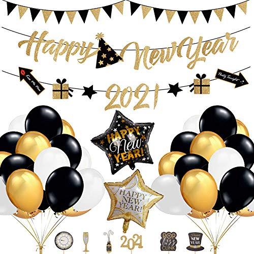 55 PACK Año Nuevo Set de decoración, 2021 Happy New Year Banderines guirnaldas, Estrella Globo de papel, Decor para cupcakes con purpurina, para Suministros de decoración de fiesta