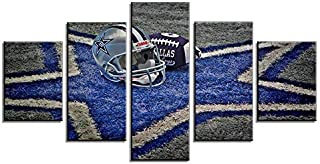 Fukcarry 5 Pcs Frameless NFL Sports Painting Dallas Cowboys Canvas Prints Wall Art Super Bowl Home Decor 5 Pcs Pictures Modern Artwork Home Decor for Living Room