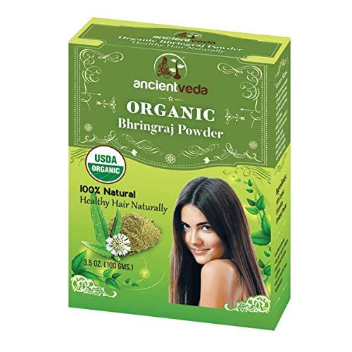 AncientVeda Bhringraj Powder All Natural Cure for Dandruff, Hair Loss, & Dry Scalp   100% USDA Organic Hair Treatment