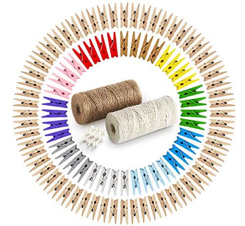 ABSOFINE 2x60m Ficelle de Jute,200 Clips Photo en Bois Pinces à Linge colorées vêtir Papier Photo Craft DIY Fête Mariage Maison Noël