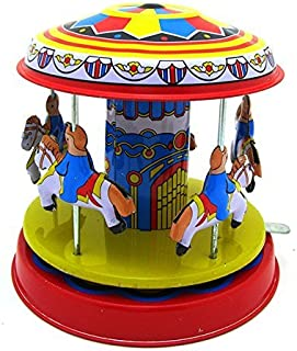 My Toots Classic Vintage Clockwork Wind Up Merry-Go-Round Children Kids Tin Toys with Key