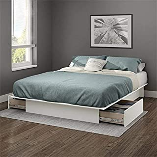 South Shore Gramercy Full/Queen Platform Bed (54/60'') with drawers, Pure White