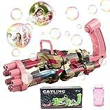 SPECOOL Macchina per Bolle Bambini, Automatica Pistola per Bolle con 8 Fori e Luce Gatling...