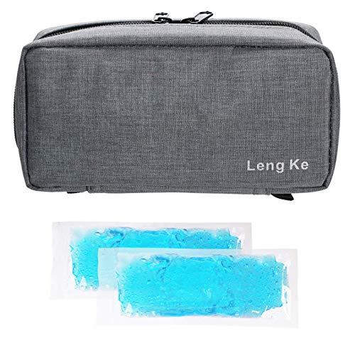 Bolsa de viaje de insulina portátil, ONEGenug Caso del protector de la atención médica  Bolsa Médica Organizador para el diabético (Gris + 2 Bolsas de Hielo)