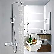 Homelody Duschsystem Regendusche Duscharmatur Duschset Rainshower mit Handbrause Brausestange Duschsäule Kopfbrause Dusche Set für Bad