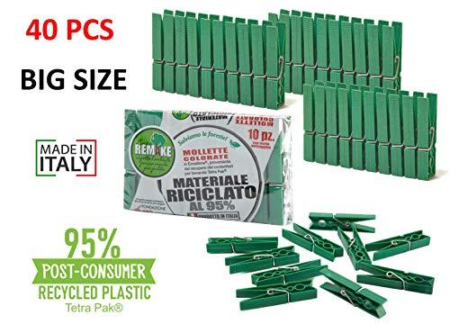 Remake Wäscheklammern Ökologische (40 STK) 95% Recycelte Kunststoff. Ideal für Wäscheleinen im Freien und Lebensmitteltaschen. Widerstandsfähig, Winddicht.