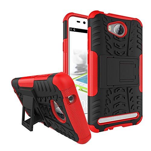 Sunrive Für Huawei Y3 II / Y3 2, Hülle Tasche Schutzhülle Etui Case Cover Hybride Silikon Stoßfest Handyhülle Hüllen Zwei-Schichte Armor Design schlagfesten Ständer Slim Fall(rot)