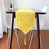 RUNYN Camino de mesa moderno geométrico amarillo y blanco decoración de mesa de hogar hecho de 100% algodón lavable para comedor fiesta decoración festiva