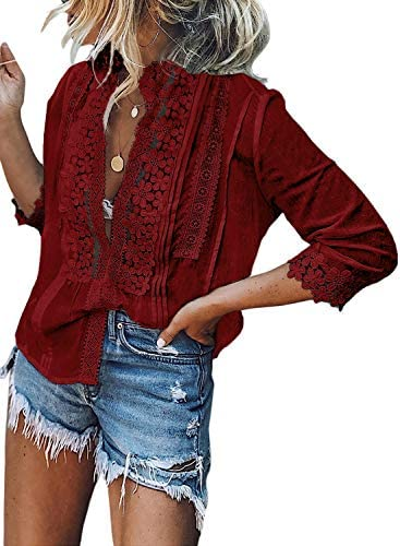 CANIKAT Women s Ladies Fall Sexy Lace Mock Neck Strappy 3 4 Sleeve Button Down Shirts Casual product image
