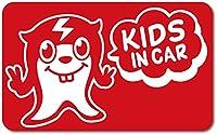 imoninn KIDS in car ステッカー 【マグネットタイプ】 No.64 ピースさん (赤色)