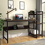 Computer Desk with 4 Tier Storage Shelves - 41.7'' Student Study Table with Bookshelf Modern P2 Wood Desk with Steel Frame for Small Spaces Home Office Workstation Walnut