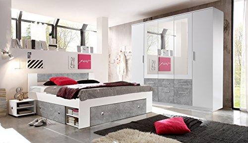 moebel-guenstig24.de Schlafzimmer Komplett Set 4-TLG. Stefan Bett 180 Kleiderschrank 212 cm Nachtkommoden wei� grau Beton