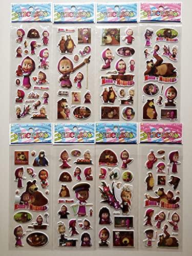 DSSJ 12 Martha y el Oso Masha y el Oso Hermosas Pegatinas de Dibujos Animados Pegatinas de Burbujas Pegatinas de recompensas del Campus