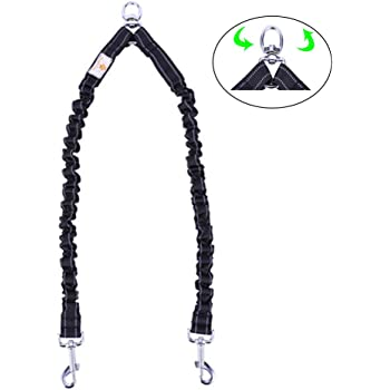 Snagle Paw Tangle Free BungeeX2 Double Dog Leash Coupler, 360° Swivel No Tangle Double Dog Walking & Training Leash, Comfortable Shock Absorbing Reflective Bungee Lead Walk 2 Dogs with Ease