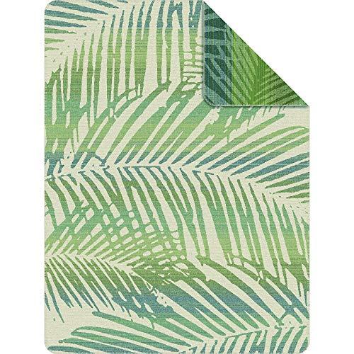 Ibena Kuscheldecke Padang 150x200 cm: Tagesdecke grün weiß, kuschelig weich und angenehm warm, hochwertige Pflegeleichte Baumwollmischung