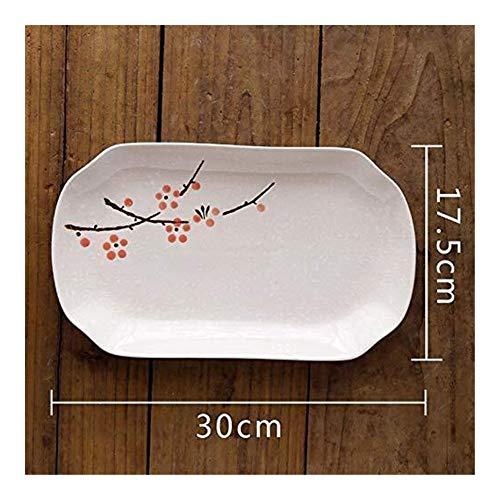 WSHFHDLC Cuenco de la Cultura Popular Plato de Pescado de 12 Pulgadas Estilo japonés de la Nieve y el Viento vajilla vidriado Restaurante del Hotel Placa de cerámica casa Cuenco de la Cultura Popular