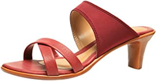 Generic Women's Partywear Leather Fashion heel Sandal Red Color (10)