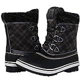 GLOBALWIN Women's Black Winter Snow Boots 8 M US