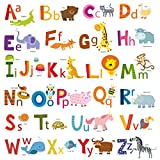 DECOWALL DA-1503A Animal Alphabet ABC Kids Wall Stickers Wall Decals Peel and Stick Removable Wall Stickers for Kids Nursery Bedroom Living Room (Medium)