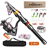 FISHOAKY Fishing Rod kit, Carbon Fiber Telescopic Fishing Pole and Reel Combo with Line Lures Tackle Hooks Reel Carrier Bag for Beginner Adults Youths Travel Saltwater Freshwater